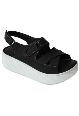 Green Life Foot 711 Deri Kadın Sandalet Siyah