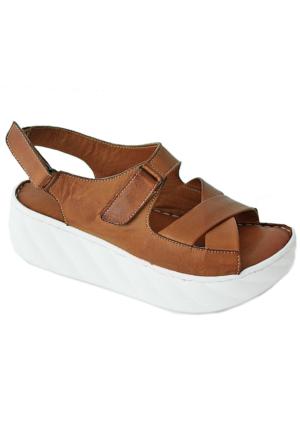 Green Life Foot 711 Deri Kadın Sandalet Taba