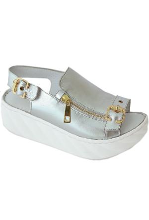 Green Life Foot 712 Deri Kadın Sandalet Gümüş