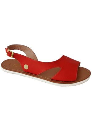 Mammamia D16Ys-1135 Deri Sandalet Kırmızı