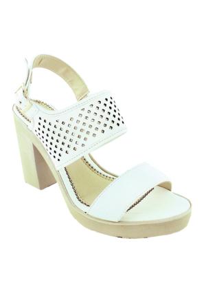 Sms 1183 Topuklu Kadın Ayakkabı Beyaz