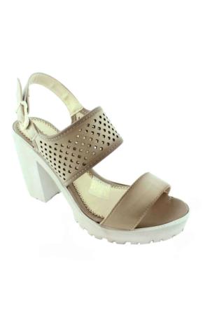 Sms 1183 Topuklu Kadın Ayakkabı Vizon