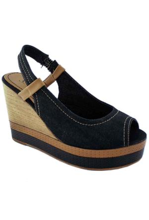 Sms 45115 Dolgu Topuk Kadın Ayakkabı Siyah