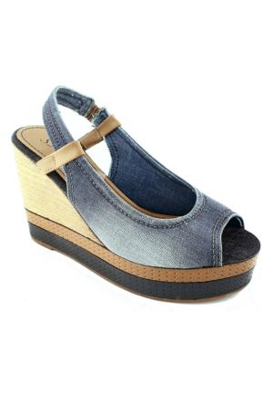 Sms 45115 Dolgu Topuk Kadın Ayakkabı Mavi