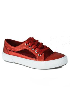 D&T 1348 Keten Kadın Ayakkabı Kırmızı