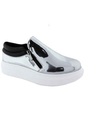 Ottimo 416 Metalik Kalın Taban Fermuarlı Kadın Ayakkabı Lame