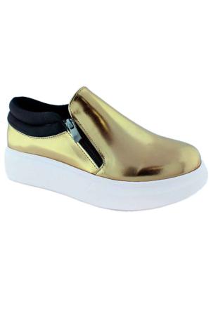 Ottimo 416 Metalik Kalın Taban Fermuarlı Kadın Ayakkabı Dore