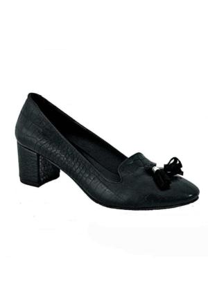 Charmia 262 Püsküllü Kadın Ayakkabı Siyah