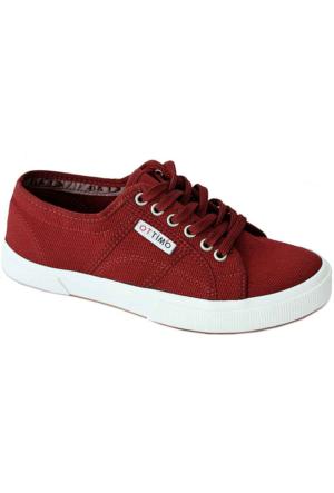 Ottimo 7102 Keten Kadın Ayakkabı Bordo