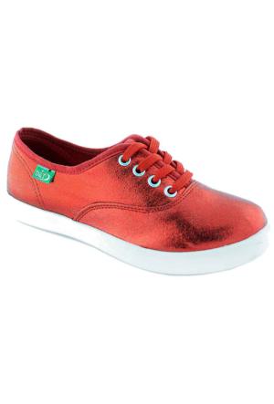 Ottimo 0103 Keten Günlük Kadın Ayakkabı Kırmızı