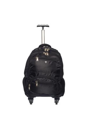 Ççs Kumaş Tekerlekli Sırt Çantası Ççs40124-S Siyah