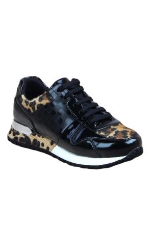 Markazen Leopar Detaylı Desenli Spor Ayakkabı - Siyah
