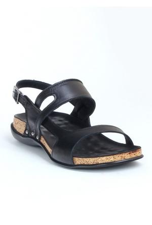 Markazen Tokalı Ortopedik Deri Sandalet Ayakkabı - Siyah