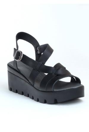 Markazen Tokalı Platform Topuk Sandalet Ayakkabı - Siyah