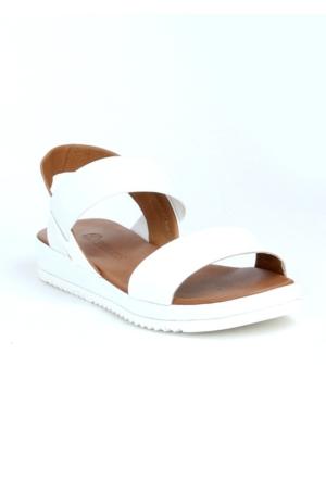 Markazen Lastikli Deri Terlik Sandalet - Beyaz