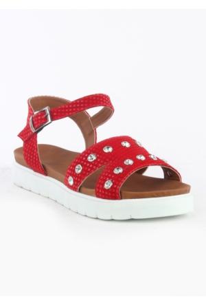 Markazen Küp Desenli Taşlı Sandalet - Kırmızı