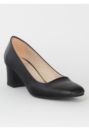 Markazen Cilt Kalın Topuklu Ayakkabı - Siyah