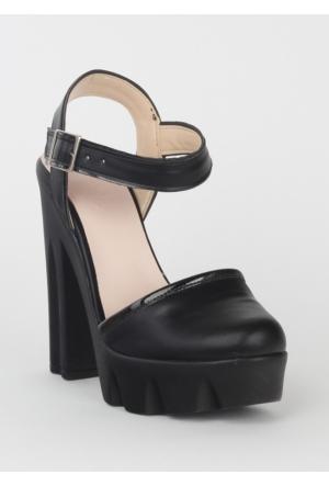 Markazen Kalın Topuklu Ayakkabı- Siyah