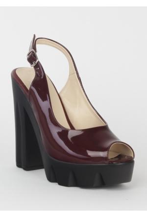 Markazen Kalın Topuklu Ayakkabı Rugan - Bordo 06