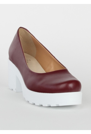 Markazen Bayan Rugan Topuklu Ayakkabı - Bordo