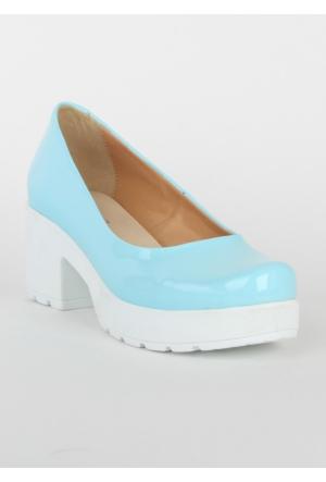 Markazen Bayan Rugan Topuklu Ayakkabı - Turkuaz