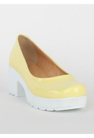 Markazen Bayan Rugan Topuklu Ayakkabı - Sarı