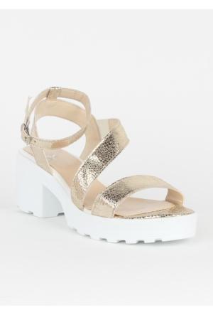 Markazen Tokalı Sandalet Ayakkabı - Altın
