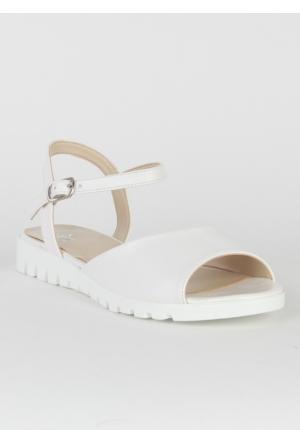 Markazen Bilekten Tokalı Sandalet Ayakkabı - Beyaz
