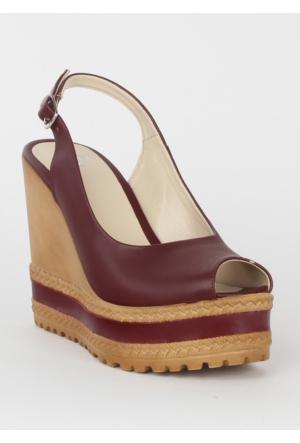 Markazen Dolgu Topuk Bayan Ayakkabı - Bordo
