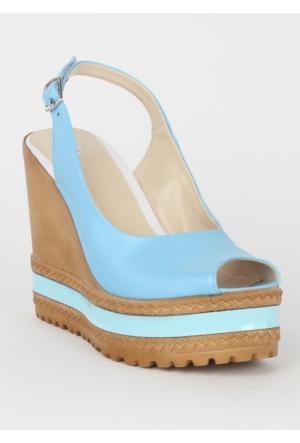 Markazen Dolgu Topuk Bayan Ayakkabı - Mavi