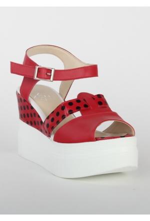 Markazen Puantiyeli Dolgu Topuk Ayakkabı - Kırmızı