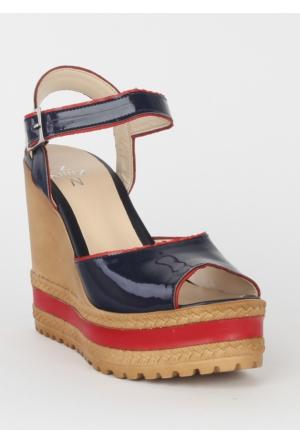 Markazen Rugan Dolgu Topuk Bayan Ayakkabı - Lacivert