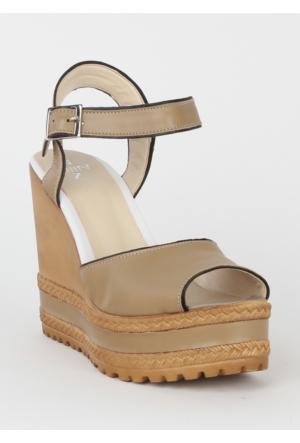Markazen Dolgu Topuk Bayan Ayakkabı - Vizon