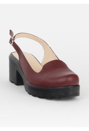 Markazen Tokalı Sandalet Ayakkabı Beyaz Taban - Bordo