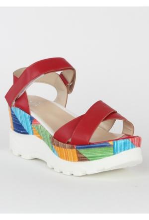 Markazen Tokalı Sandalet Mat Ayakkabı - Kırmızı