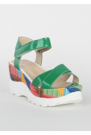 Markazen Tokalı Sandalet Rugan Ayakkabı - Yeşil