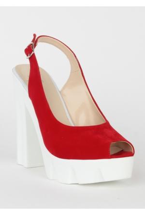 Markazen Kalın Topuklu Süet Ayakkabı - Kırmızı