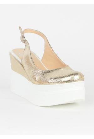 Markazen Dolgu Topuk Ayakkabı - Altın
