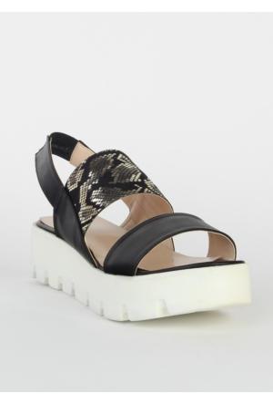 Markazen Yüksek Tabanlı Desenli Terlik Sandalet - Siyah