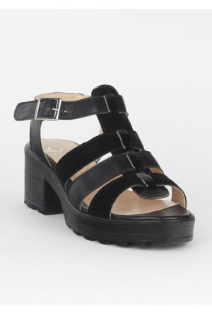 Markazen Üç Kemerli Terlik Sandalet - Siyah