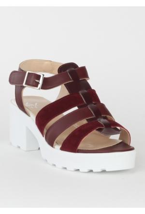 Markazen Üç Kemerli Terlik Sandalet - Bordo