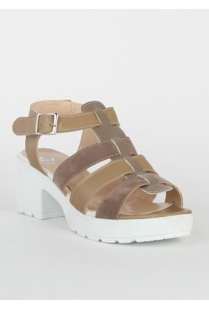 Markazen Üç Kemerli Terlik Sandalet - Vizon