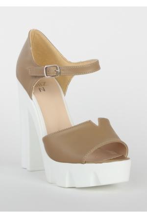 Markazen Bilekten Tokalı Kalın Topuklu Ayakkabı - Vizon