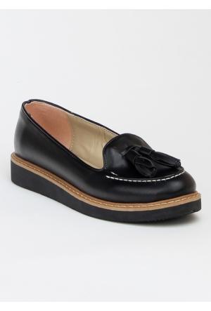 Markazen Püsküllü Babet Ayakkabı - Siyah -08