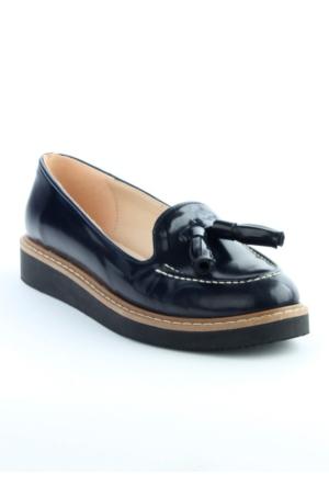 Markazen Püsküllü Rugan Babet Ayakkabı - Lacivert