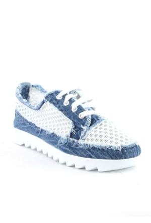 Markazen Fileli Kot Spor Ayakkabı - Mavi
