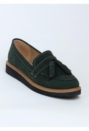Markazen Püsküllü Babet Ayakkabı - Yeşil