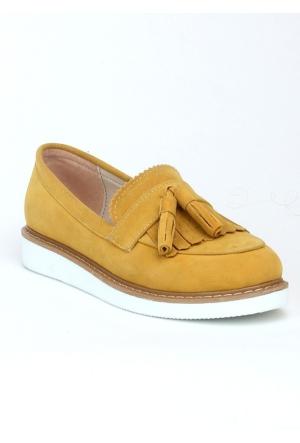 Markazen Püsküllü Babet Ayakkabı - Sarı
