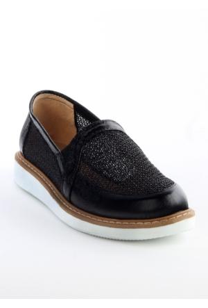 Markazen Eva Taban Fileli Rugan Bayan Spor Ayakkabı - Siyah