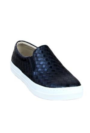 Markazen Baklava Desenli Babet Ayakkabı - Siyah
